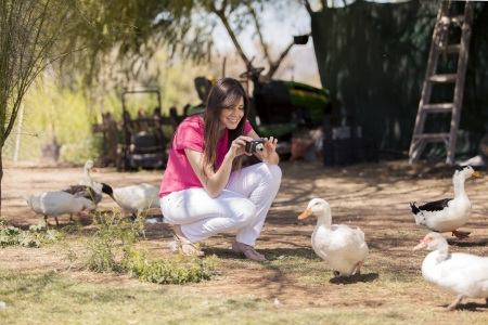 Beautiful young woman taking a few pictures of ducks at a farm photo