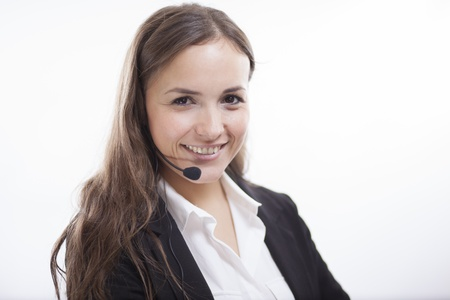 customer service representative: Happy sales representative loving her job