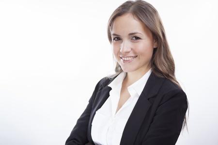 Portret van een mooie zakelijke vrouw lachend Stockfoto