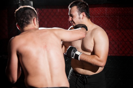 Chubby fighter being punched in the face by a stronger fighter