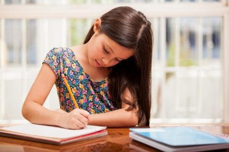 study: Beautiful little girl looking focused and concentrated on doing her homework