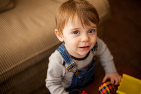 Portrait of a beautiful blonde baby boy playing with his toys in the living room photo