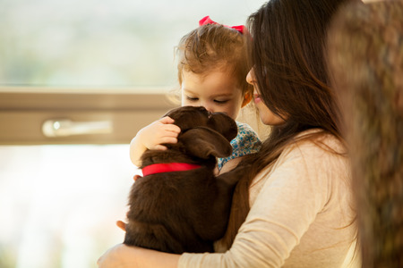 Beautiful portrait of a young woman and her daughter, both holding and petting their new Labrador puppy photo