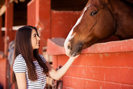 equine: Pretty young woman interacting and connecting with a horse in a ranch Stock Photo