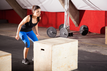 Cute athletic brunette doing some jumping exercises in a cross-training gym Stock Photo - 28495347
