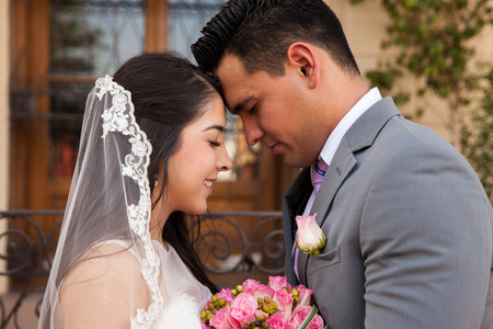 Profile view of a bridal couple touching each others photo