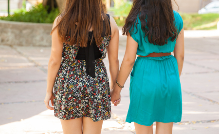 puberty: Rear view closeup of a couple of teenage friends holding hands at a park Stock Photo