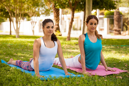 Cute female friends practicing the cobra yoga pose and smiling photo