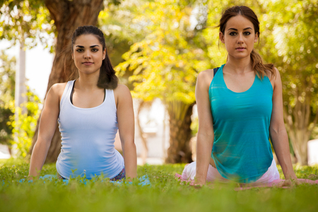 Beautiful female friends practicing yoga together at a park photo