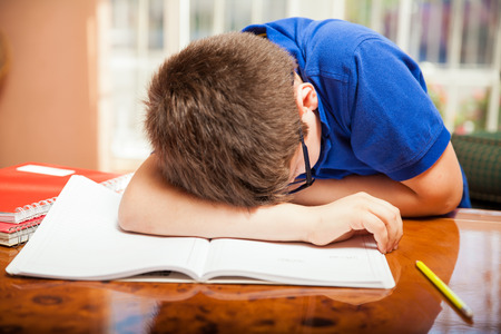 preadolescent: Little blond boy taking a nap in the middle of a difficult homework