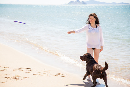 flying disc: Pretty young brunette throwing a flying disc for her dog to catch at the beach