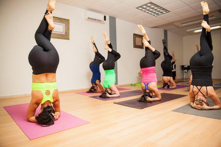 Vrouwelijke yoga instructeur en een grote groep studenten die een hoofdstand in een sportschool doen