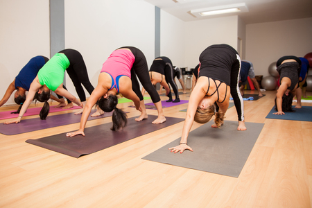 revolved: Wide angle view of a large group of people in a real yoga class doing the revolved down dog pose