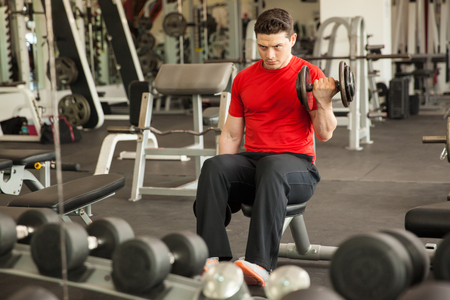 curls: Portrait of a young man doing a great effort on bicep curls while sitting on a bench in front of a mirror at the gym Stock Photo