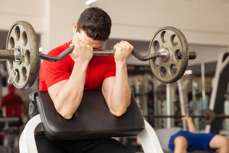 predicador: Hombre atlético joven que levanta una pesa en un banco predicador en el gimnasio