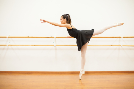 barre: Profile view of a cute female dancer standing on her toes and doing some barre work in a dance studio