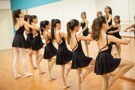 Row of many little girls participating in dance class at school and looking at theirselves in a mirror Imagens