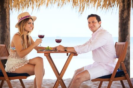 having lunch: Portrait of a happy young couple of honeymooners having lunch and enjoying a glass of wine with an ocean view at the beach