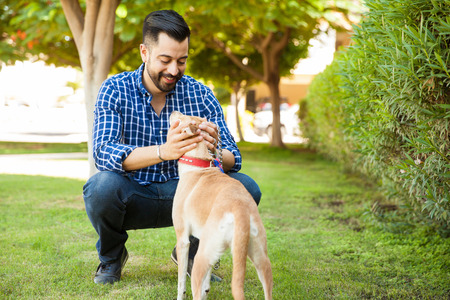 Good looking young man with a beard petting his dog and taking her for a walk at a park