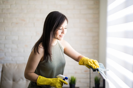 Lovely woman cleaning window blinds with cloth and liquid spray during day time Stockfoto