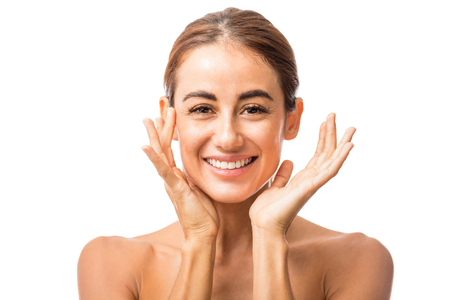 Portrait of confident woman feeling happy about her radiant skin Banco de Imagens