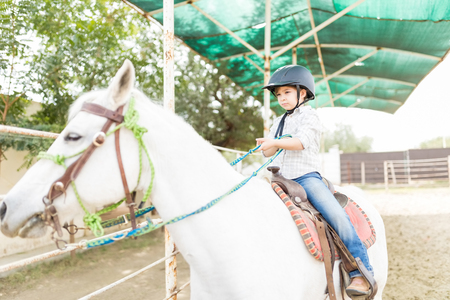 Adorable child pulling lead while sitting on white horse at ranch Foto de archivo