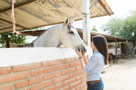 Side view of pretty mid adult woman about to kiss a horse at ranch