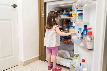 Full length of adorable small girl searching for snacks in open fridge at kitchen 版權商用圖片
