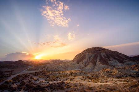Roads to the desert - Tabernas (Almeria) Spain Stock Photo
