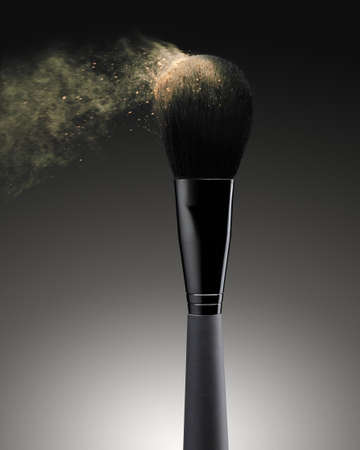 Flying powder from make-up brush on black background Stock Photo - 8593591