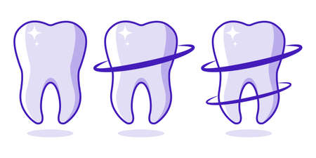 Teeth Icons Set Dentist Illustration Healthy teeth with glowing effect, teeth whitening concept Vector