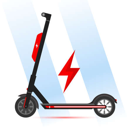 Electric Scooter With Extra Battery Illustration Vector Icon