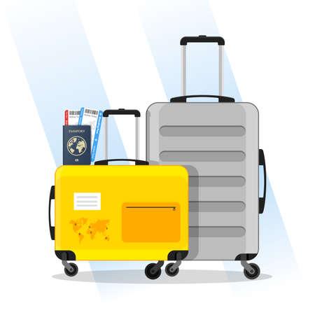 Travel luggage and passport Illustration Vector 向量圖像