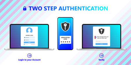 2 steps authentication concept Illustration