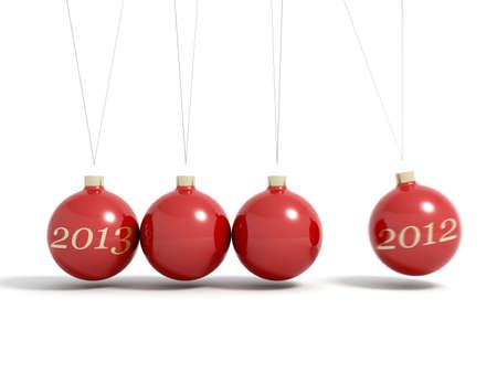 Christmas balls new year s eve pendulum 2013 with motion blur Stock Photo - 15883657