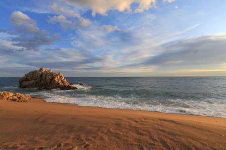 sant: Sant Pol de mar, Roca grossa beach in Maresme, Barcelona, Spain