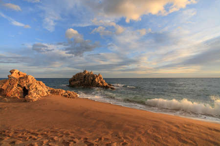 Sant Pol de mar, Roca grossa beach in Maresme, Barcelona, Spain