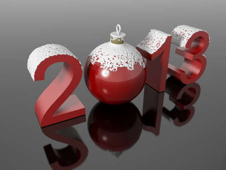 New year 2013 in snowy numbers with a christmas ball on a reflective black surface Stock Photo - 16080970
