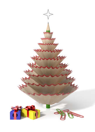 sharpener: Christmas tree made with a pencil and its wooden shavings with paperclips and sharpeners in a white isolated background