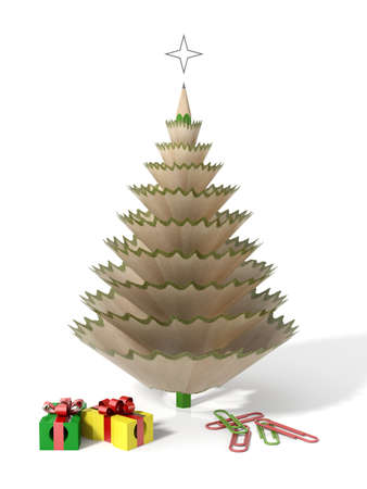 pencil sharpener: Christmas tree made with a pencil and its wooden shavings with paperclips and sharpeners in a white isolated background
