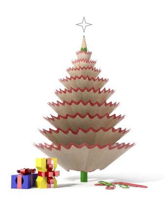 sacapuntas: Árbol de navidad hecho con un lápiz y virutas de madera con sus clips y sacapuntas en un fondo blanco aislado Foto de archivo