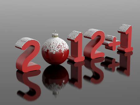 New year 2012 1  2013  in snowy numbers with a christmas ball on a reflective black surface Stock Photo - 16268716