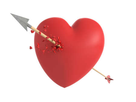 shedding: Smitten heart in love at first sight with a wooden arrow shedding little hearts in an isolated white background
