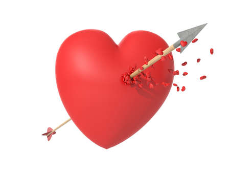Smitten heart in love at first sight with a wooden arrow shedding little hearts in an isolated white background photo