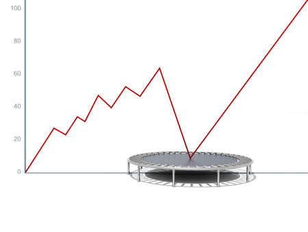 relaunch: Business growth red graphic relaunched with a trampoline on a white isolated background  Company rescue