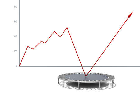 company growth: Business growth red graphic relaunched with a trampoline on a white isolated background  Company rescue
