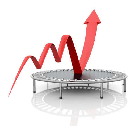 to raise: Business growth red graphic relaunched with a trampoline on a white isolated background  Company rescue