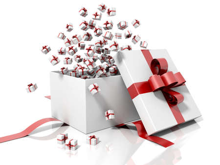 Gift box emitting little gift boxes with a red ribbon on a white reflective and isolated background