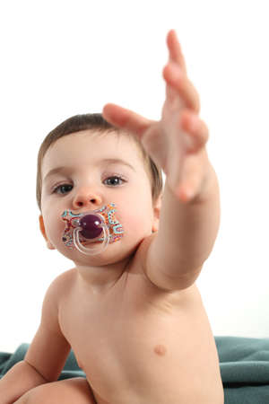 Needy baby demanding attention on a white isolated background Stock Photo - 16717816