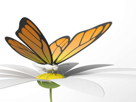 3d flower: Orange butterfly on a daisy. 3d render. White isolated background Stock Photo